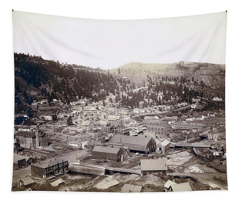Deadwood Tapestry featuring the photograph Deadwood South Dakota 1888 by Daniel Hagerman
