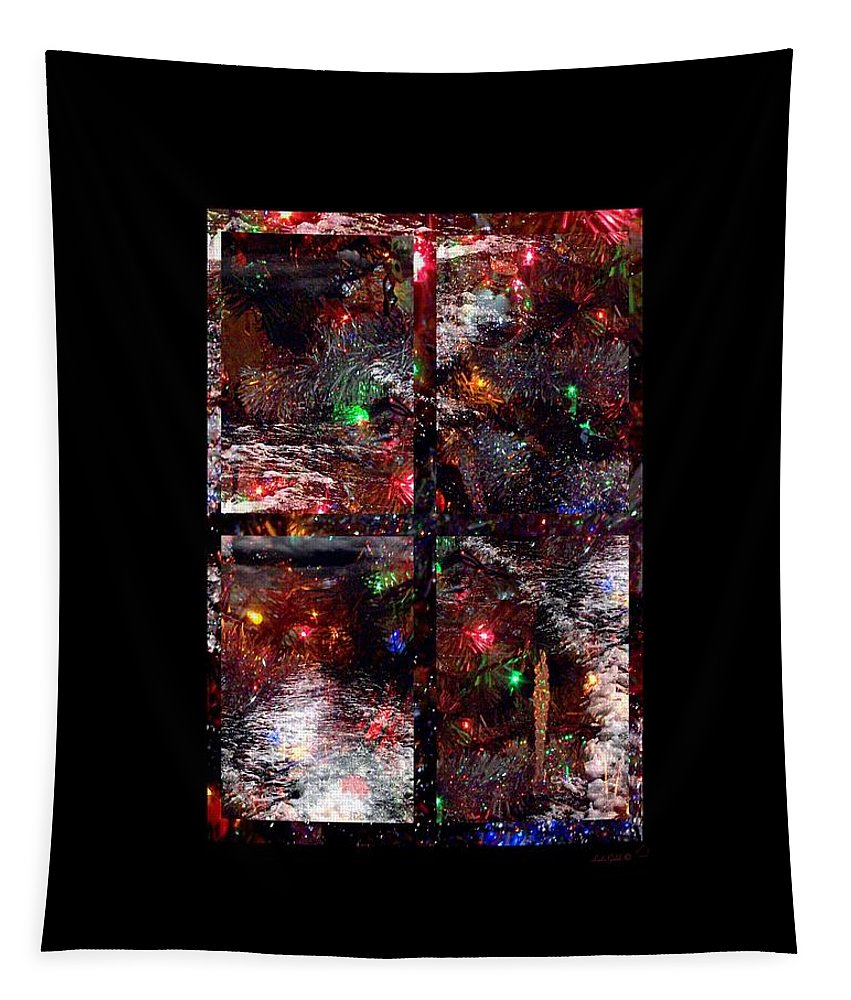 Abstract Tapestry featuring the digital art December View by Linda Galok