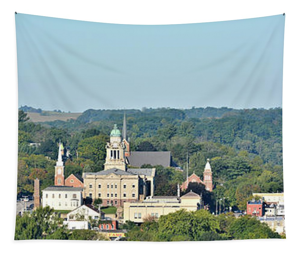 Decorah Tapestry featuring the photograph Decorah Iowa Panorama 2 by Bonfire Photography