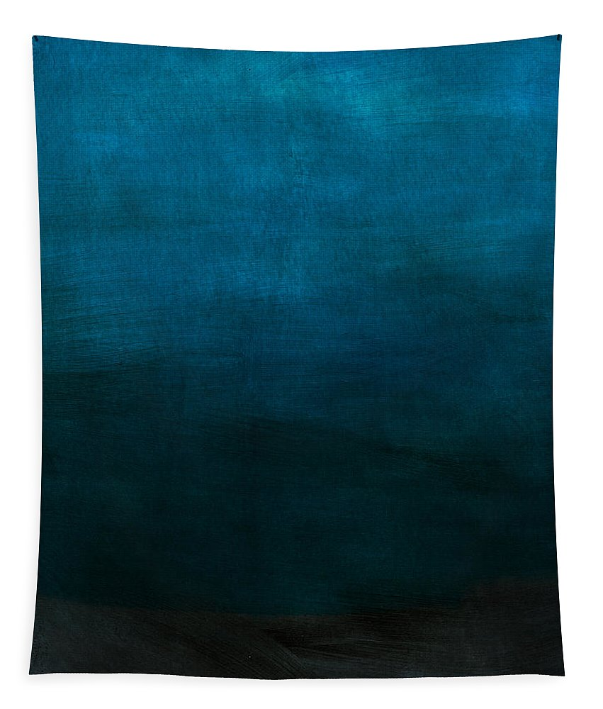 Blue Tapestry featuring the mixed media Deep Blue Mood- Abstract Art by Linda Woods by Linda Woods