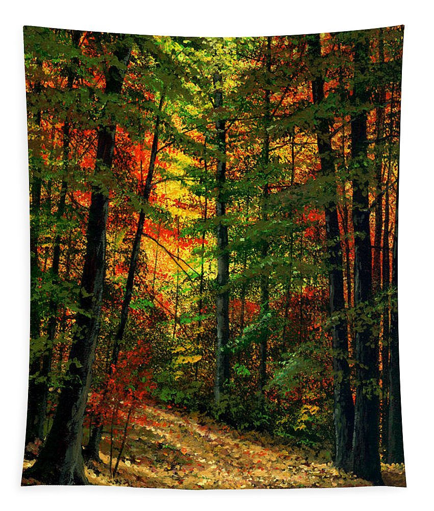 Landscape Tapestry featuring the painting Deep In The Forest by Frank Wilson