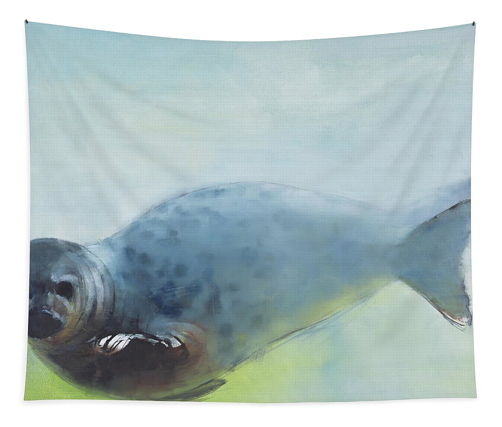 Seal Tapestry featuring the painting Deep by Mark Adlington