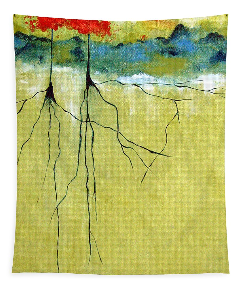 Abstract Tapestry featuring the painting Deep Roots by Ruth Palmer