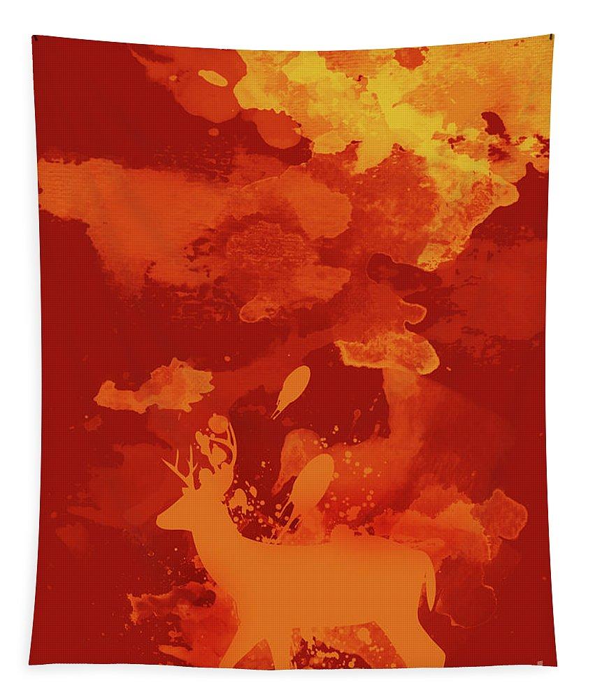 Deer Tapestry featuring the digital art Deer Art Evening by Prar Kulasekara