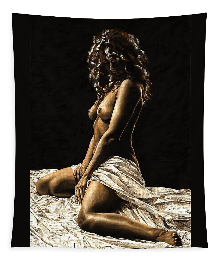 Nude Tapestry featuring the painting Defiance by Richard Young