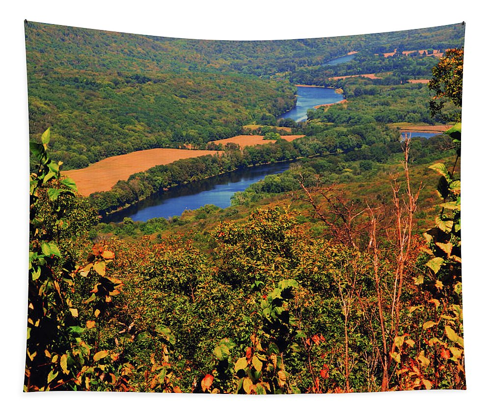 Delaware River From The Appalachian Trail Tapestry featuring the photograph Delaware River From The Appalachian Trail by Raymond Salani III