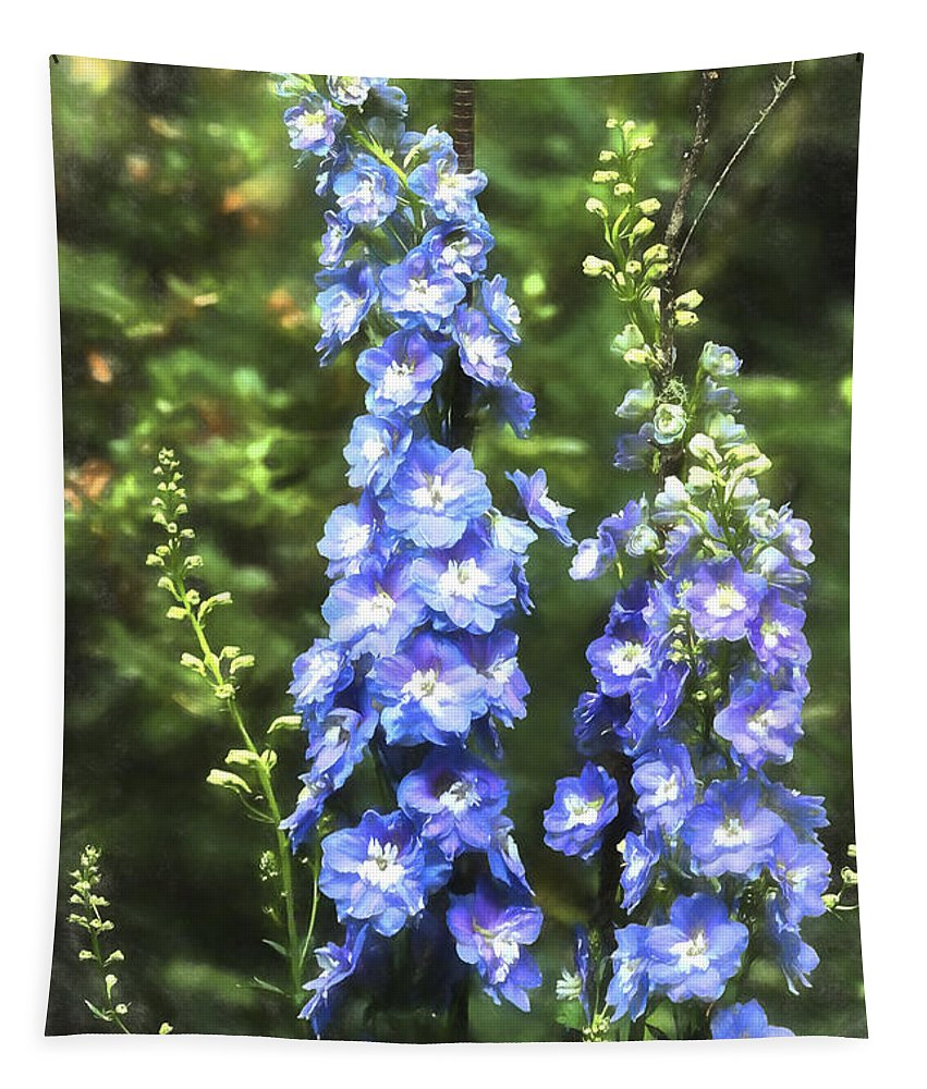 Delphinium Tapestry featuring the photograph Delphinium Painterly by Belinda Greb