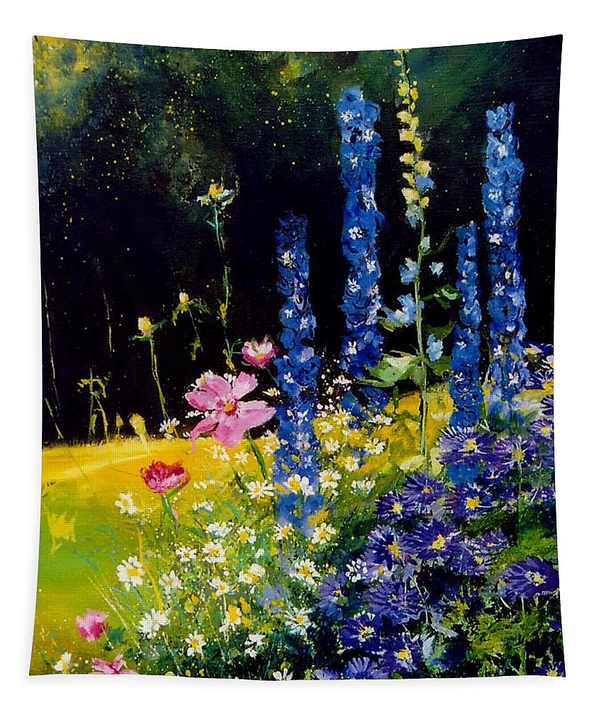 Poppies Tapestry featuring the painting Delphiniums by Pol Ledent