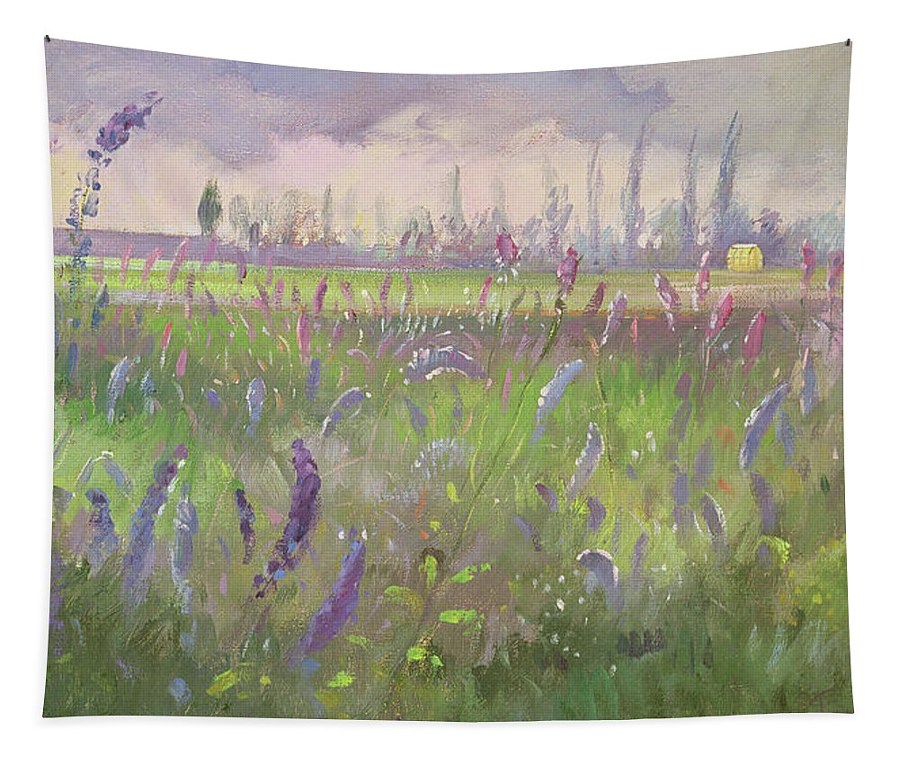 Delphiniums Tapestry featuring the painting Delphiniums, Storm Passing by Timothy Easton