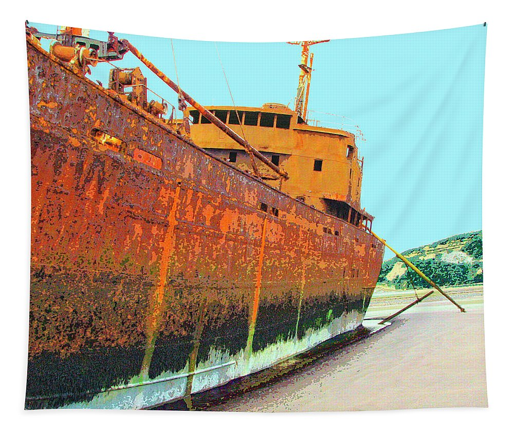 Shipwreck Tapestry featuring the mixed media Desdemona 2 by Dominic Piperata