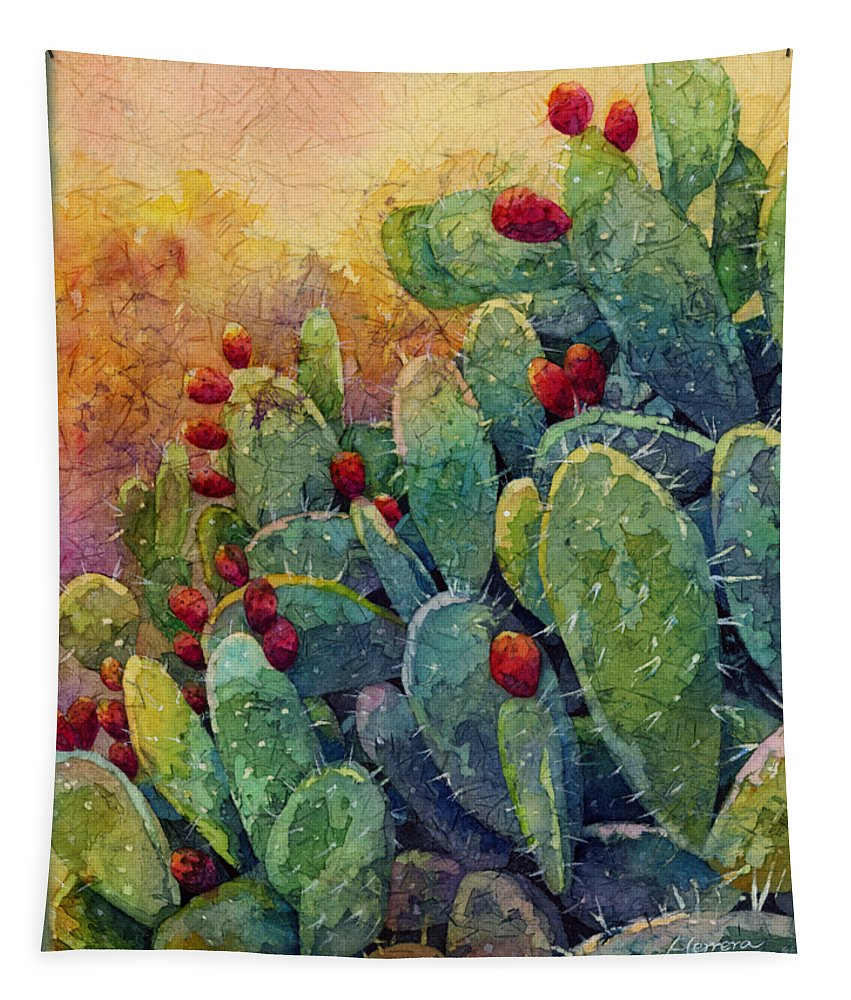 Cactus Tapestry featuring the painting Desert Gems 2 by Hailey E Herrera