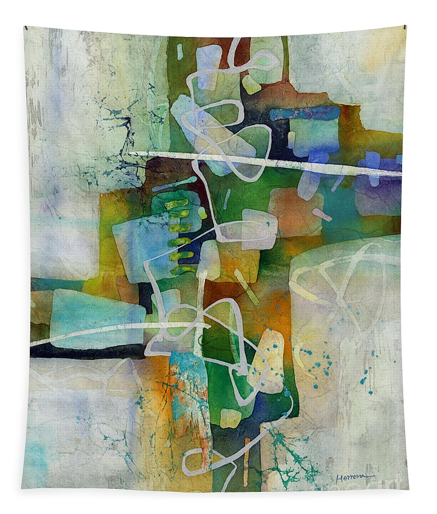 Abstract Tapestry featuring the painting Desert Pueblo by Hailey E Herrera