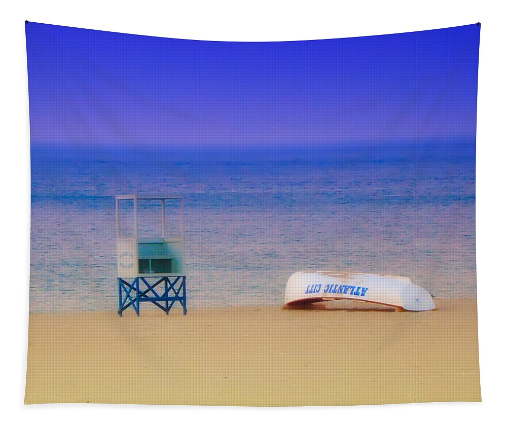 Atlantic City Tapestry featuring the photograph Deserted Beach by Bill Cannon