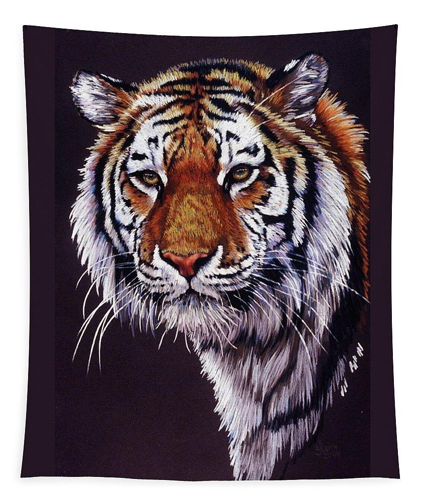 Tiger Tapestry featuring the drawing Desperado by Barbara Keith