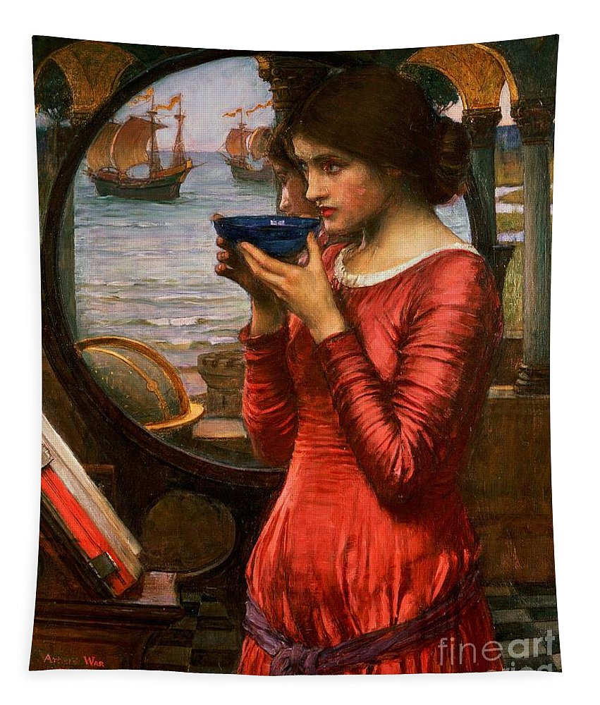 Boat; Globe; Poison; Blue Glass; Pre-raphaelite; Allegorical; Red Dress Tapestry featuring the painting Destiny by John William Waterhouse