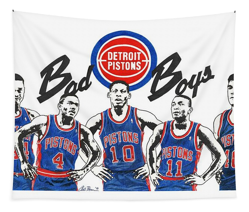 Detroit Pistons Tapestry featuring the drawing Detroit Bad Boys Pistons by Chris Brown