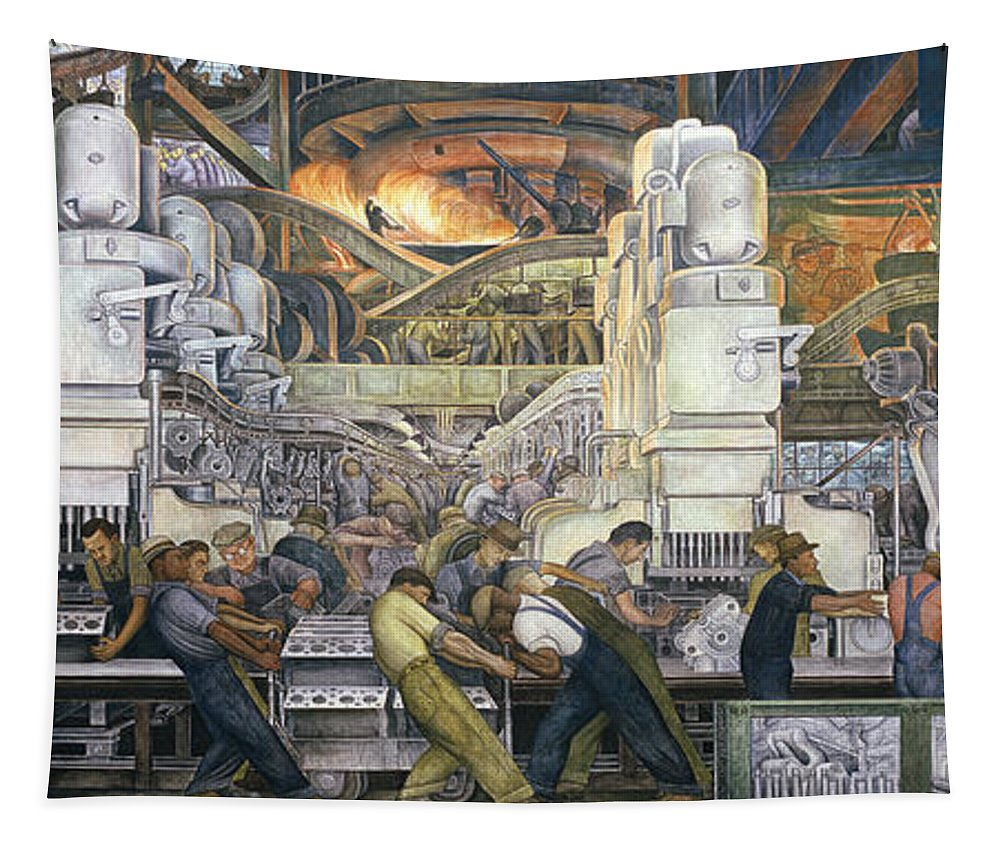 Machinery; Factory; Production Line; Labour; Worker; Male; Industrial Age; Technology; Automobile; Interior; Manufacturing; Work; Detroit Industry Tapestry featuring the painting Detroit Industry  North Wall by Diego Rivera