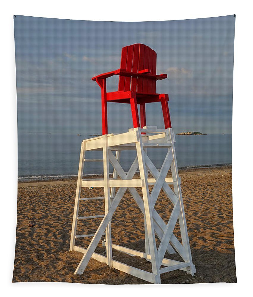 Marblehead Tapestry featuring the photograph Devereux Beach Lifeguard Chair Marblehead Ma by Toby McGuire
