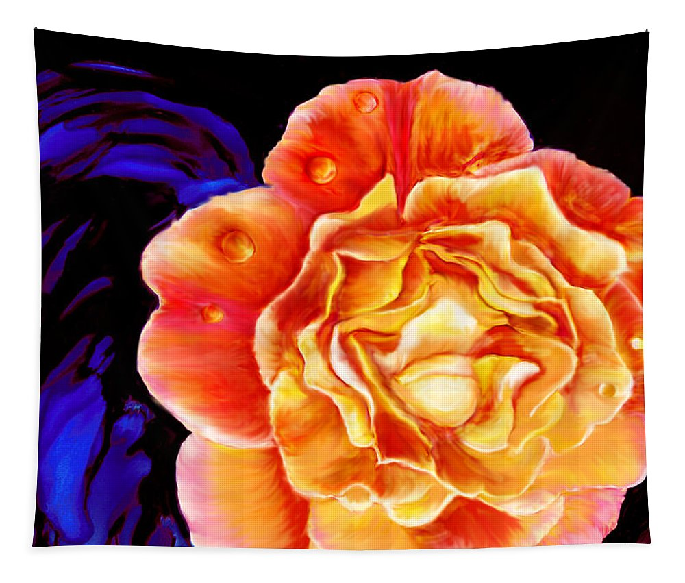 Rose Tapestry featuring the painting Dewy Peach Rose by Marcella Chapman