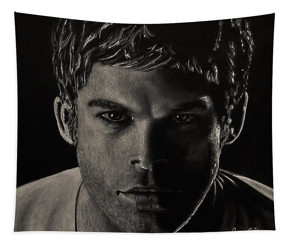 Portrait Tapestry featuring the drawing Dexter by Yana Gifford