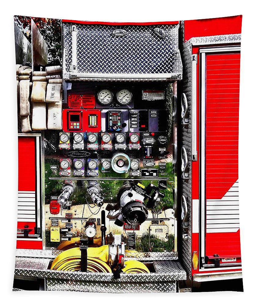 Fireman Tapestry featuring the photograph Dials And Hoses On Fire Truck by Susan Savad