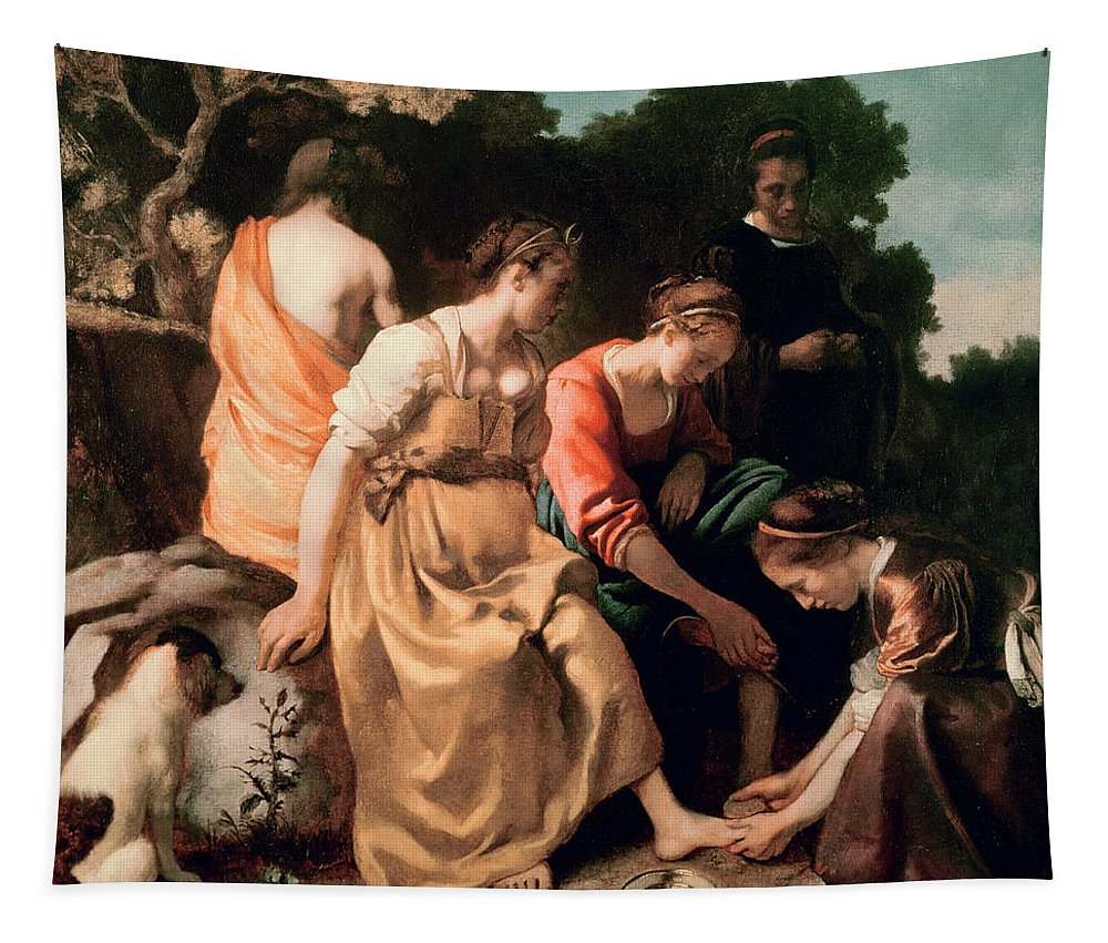 Diana And Her Companions Tapestry featuring the painting Diana and her Companions by Jan Vermeer