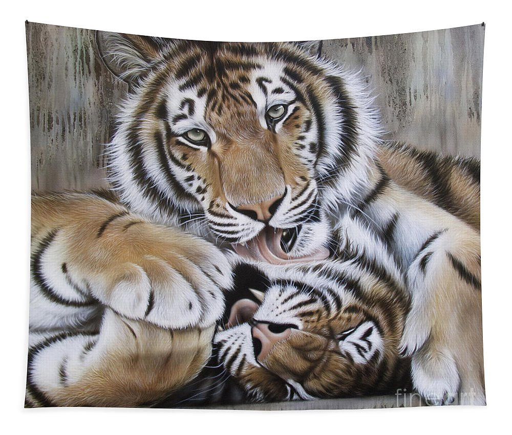 Acrylic Tapestry featuring the painting Diana's Duo by Sandi Baker