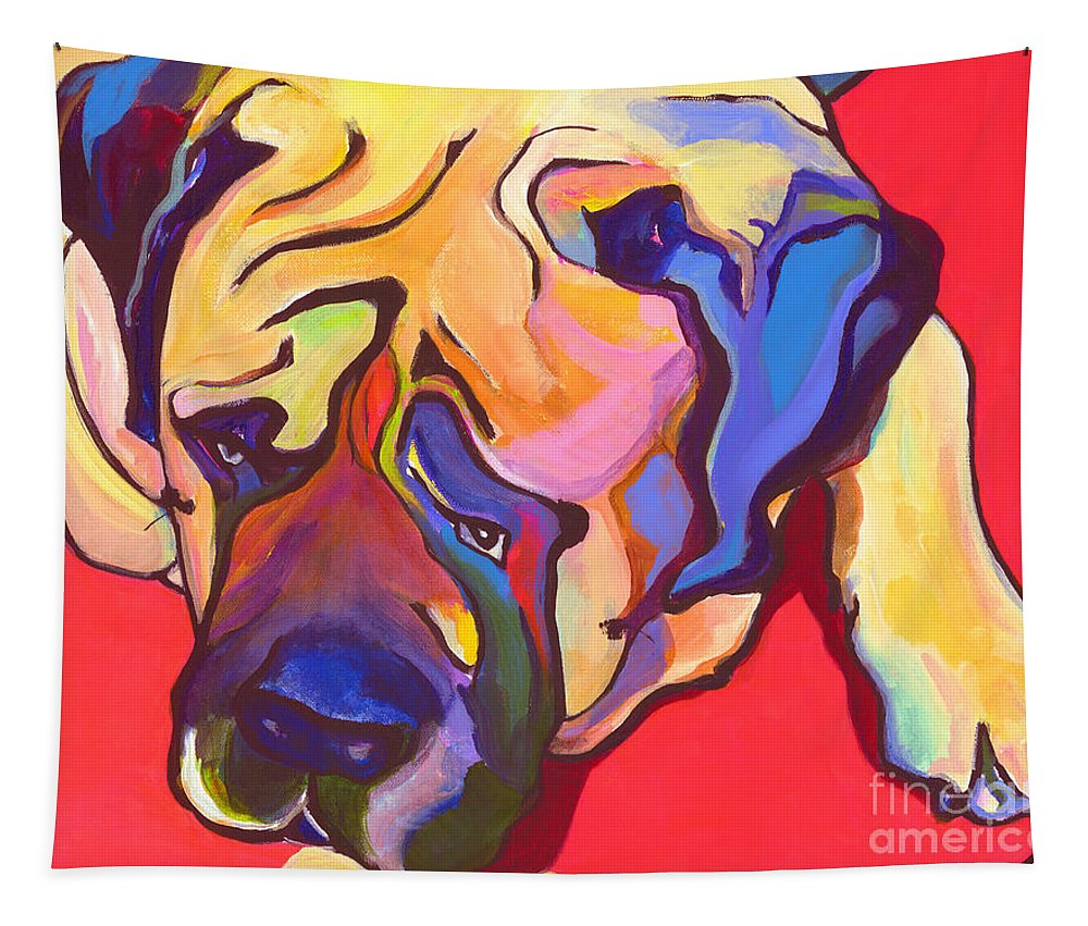 Mastiff Tapestry featuring the painting Diesel  by Pat Saunders-White