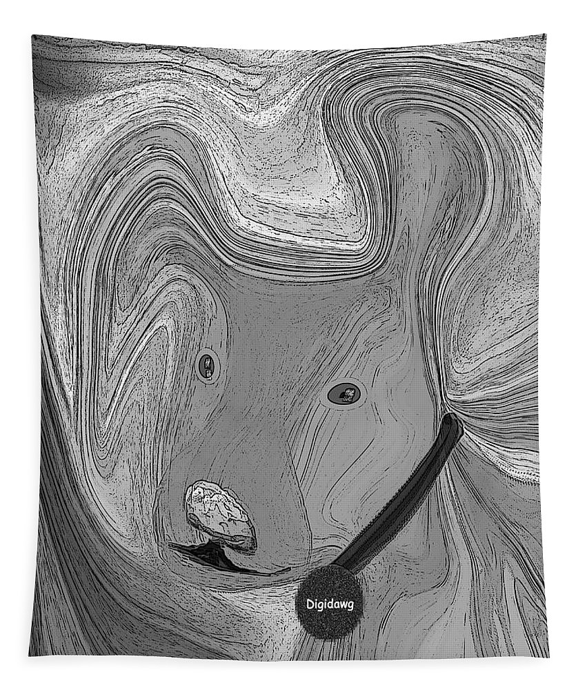 Ruth Palmer Abstract Black And White Digital Dog Dogs Animals Humor Funny Tapestry featuring the digital art Digidawg by Ruth Palmer