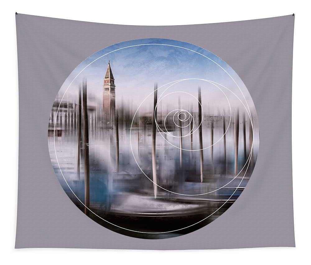 Abstract Tapestry featuring the photograph Digital-art Venice Grand Canal And St Mark's Campanile by Melanie Viola
