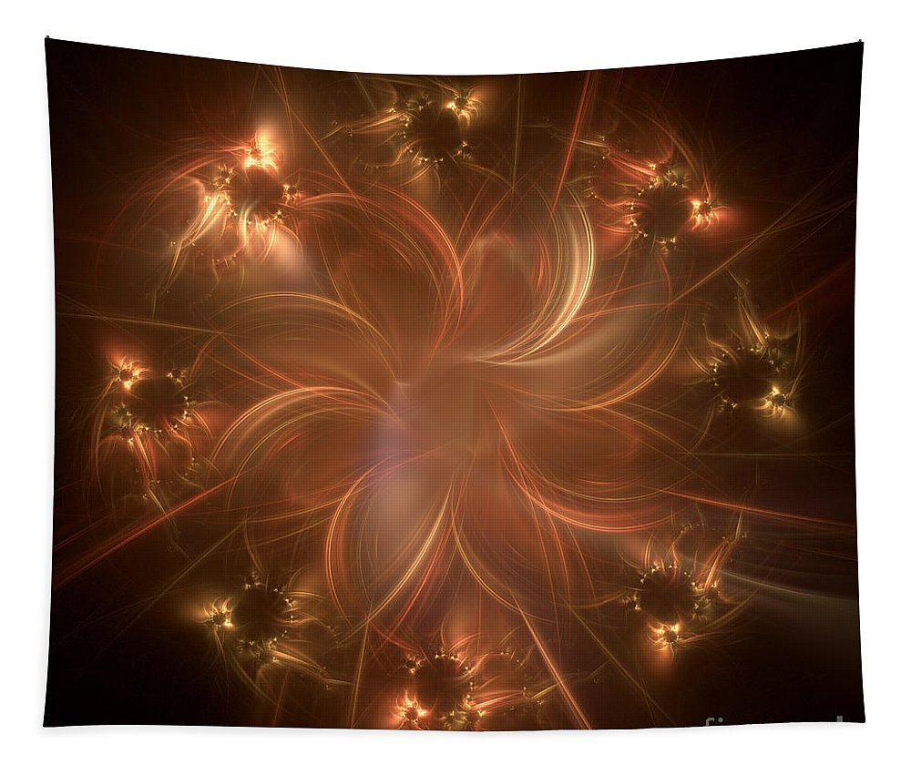 Fractals Tapestry featuring the digital art Digital Daisy Gold by Elisabeth Lucas