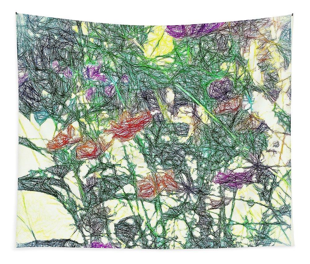 Digital/art Tapestry featuring the digital art Digital Pencil Sketch Flowers by Debra Lynch