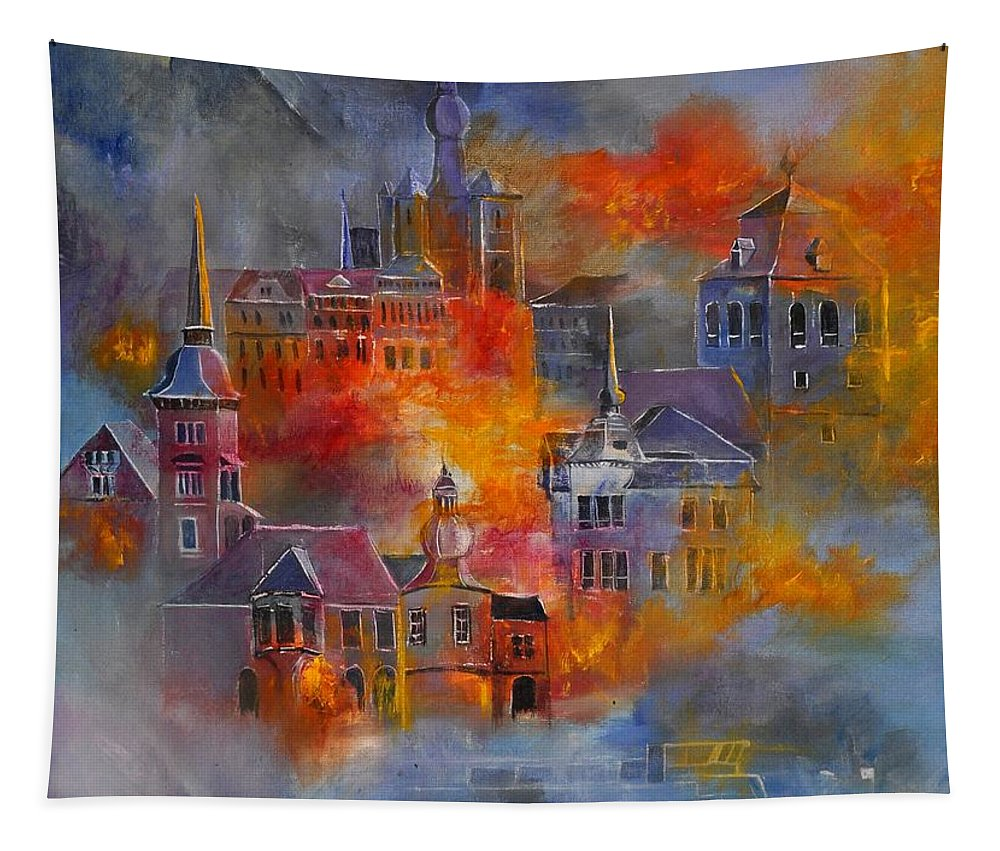 Urban Landscape Tapestry featuring the painting Dinant 670150 by Pol Ledent