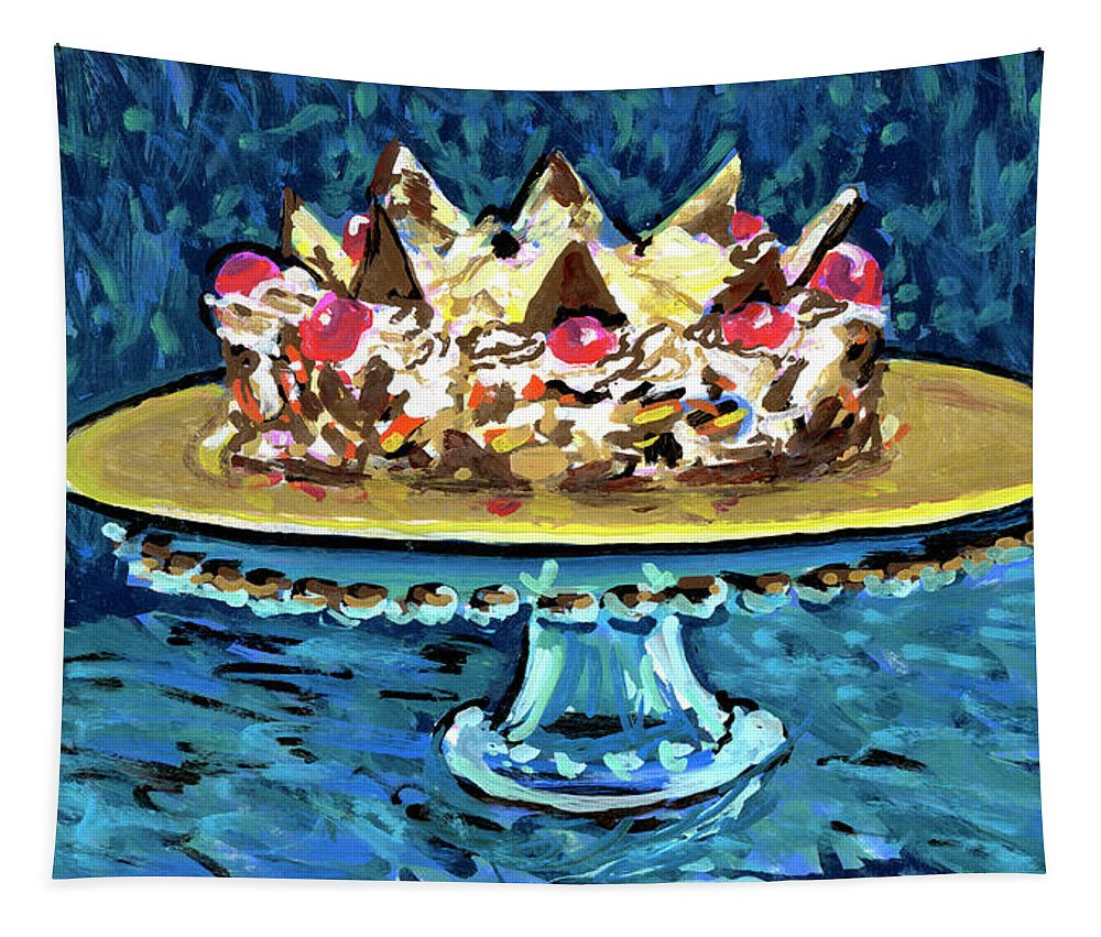 Cake Tapestry featuring the drawing Dinner Cake by Candace Lovely