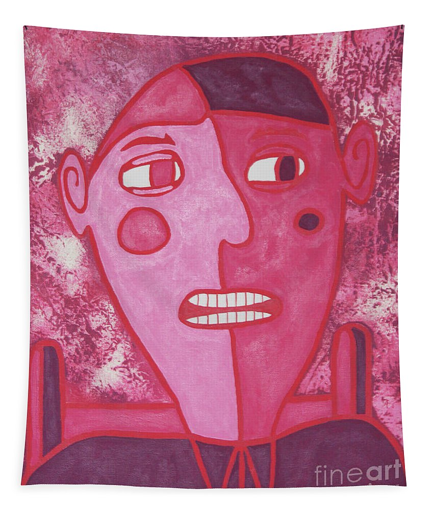 Abstract Tapestry featuring the painting Dinner Date Guy by Eddie Barron