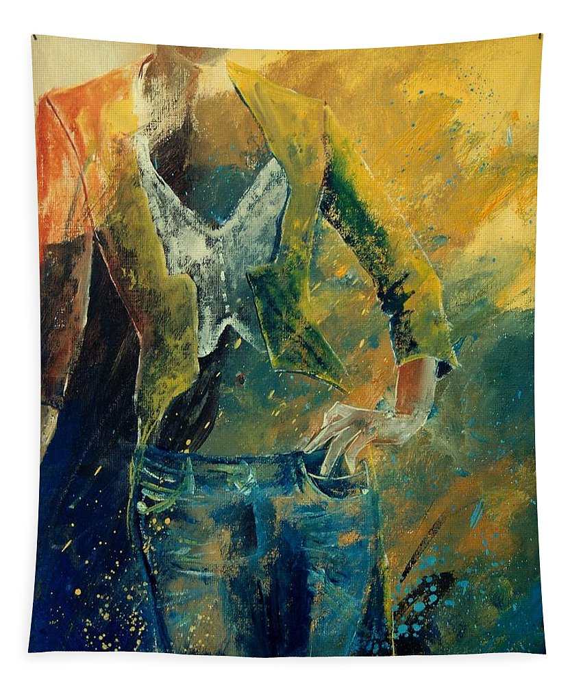 Woman Girl Fashion Tapestry featuring the painting Dinner Jacket by Pol Ledent