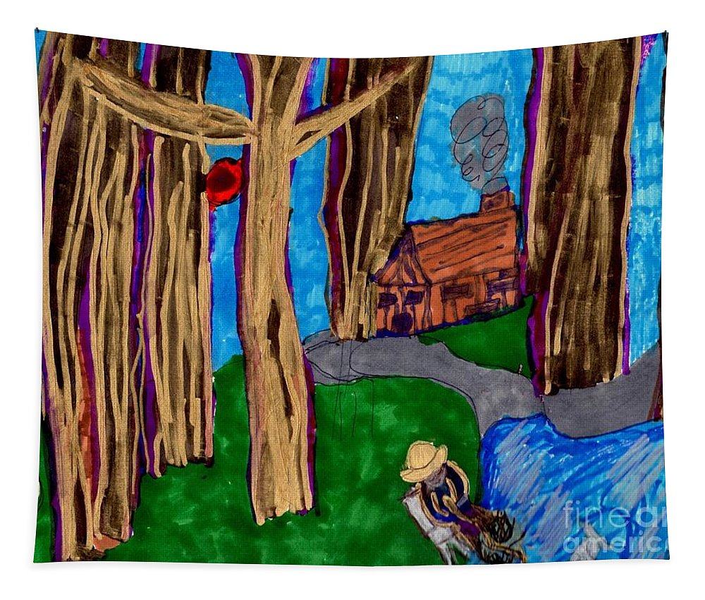 A Man Fishing A Rabbit Dense Woods A Cabin Tapestry featuring the mixed media Dinner In The Woods by Elinor Helen Rakowski