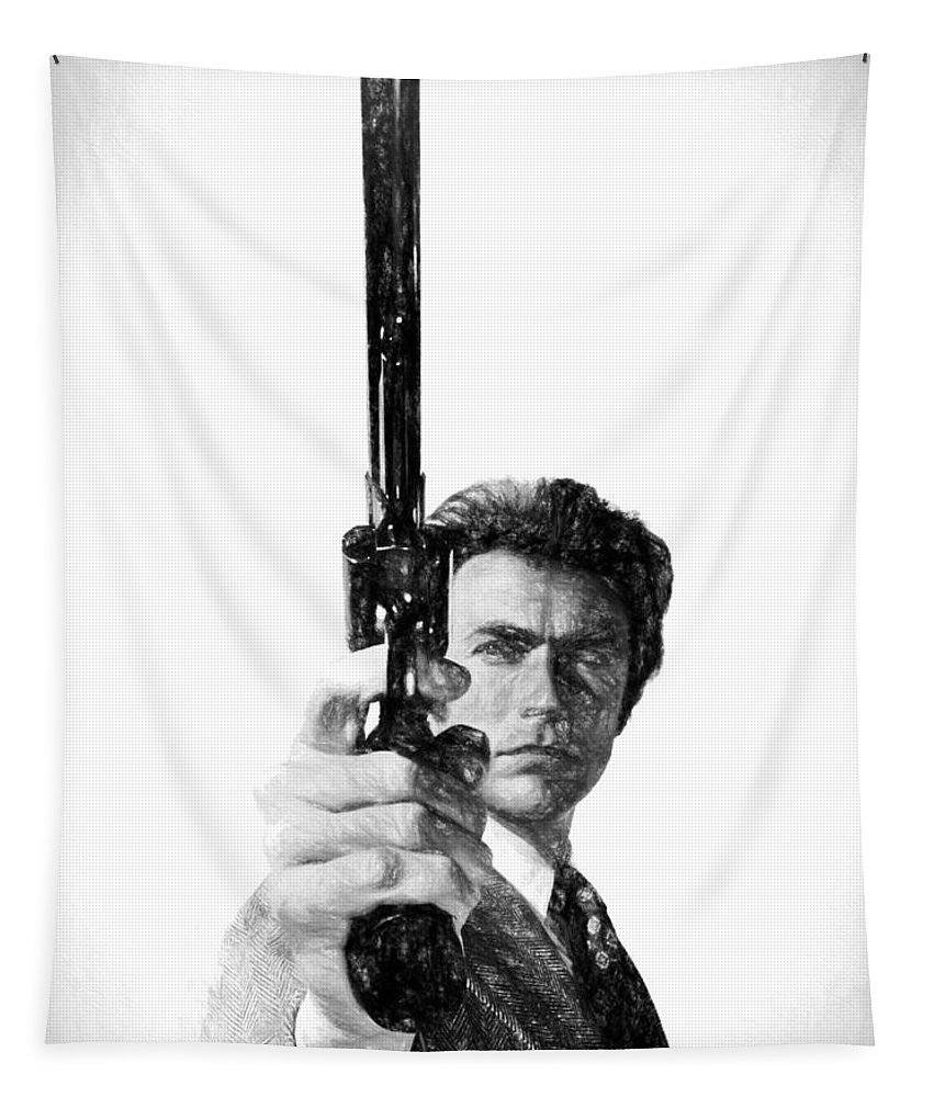 Dirty Harry Charcoal Tapestry featuring the drawing Dirty Harry Charcoal by Dan Sproul