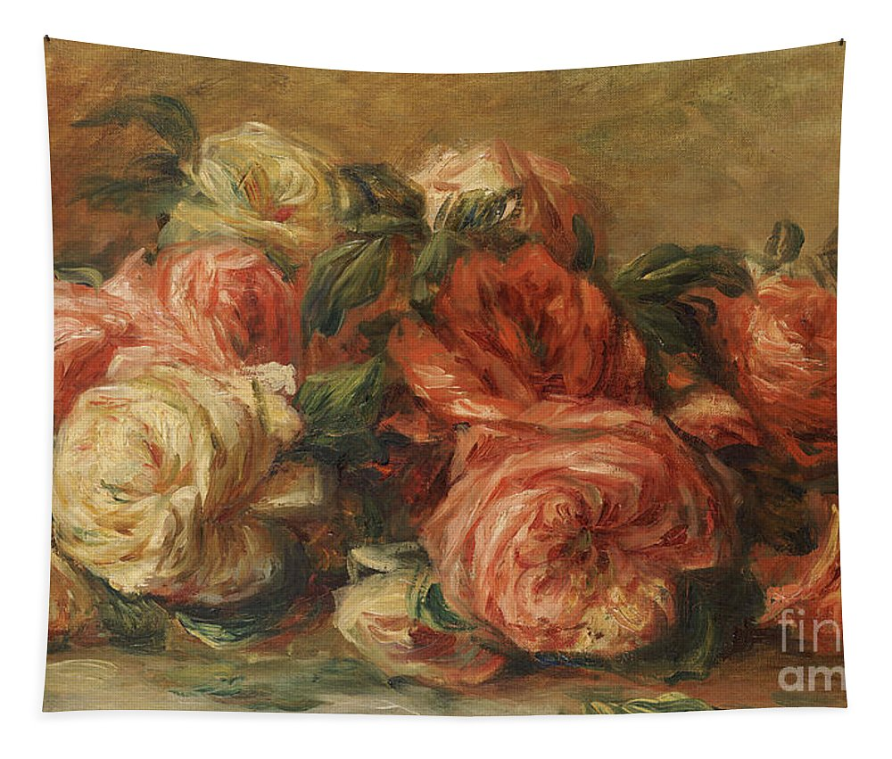 Discarded Roses Tapestry featuring the painting Discarded Roses by Pierre Auguste Renoir