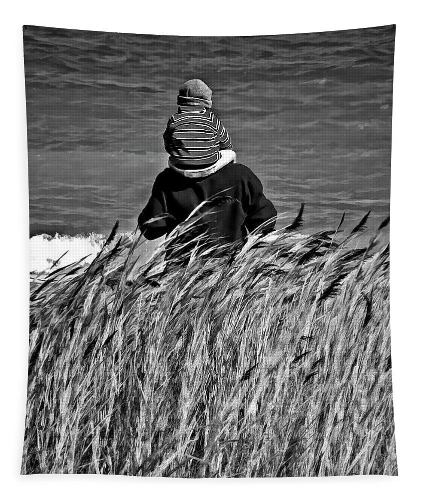 Discovery Tapestry featuring the photograph Discovery Bw by Steve Harrington
