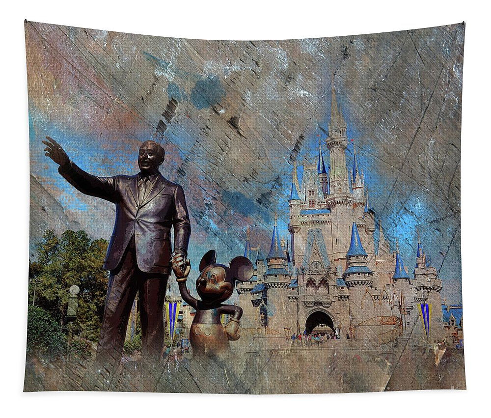 Disney Tapestry featuring the painting Disney World by Gull G