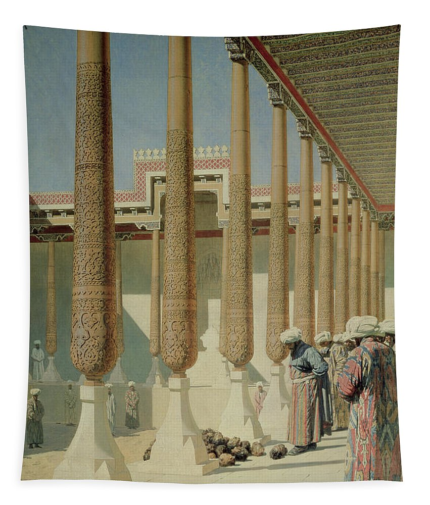 Bal172719 Tapestry featuring the painting Display Of Trophies by Vasili Vasilievich Vereshchagin
