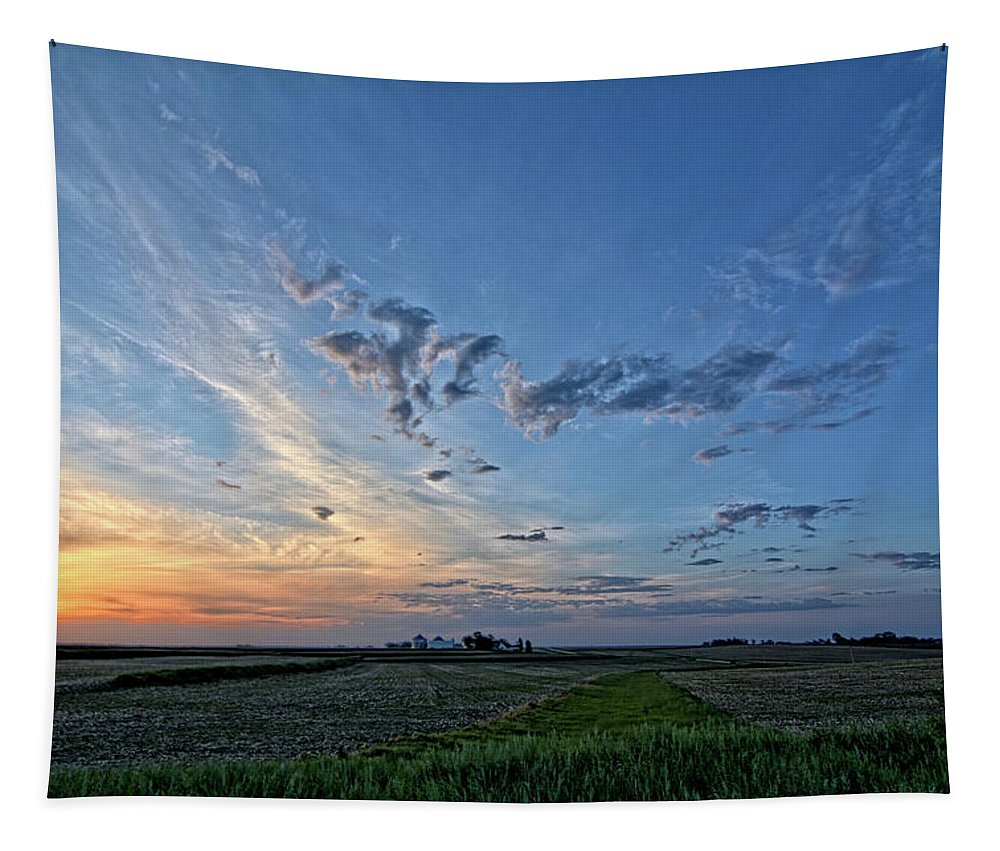 Sunrise Tapestry featuring the photograph Distant Farm by Bonfire Photography