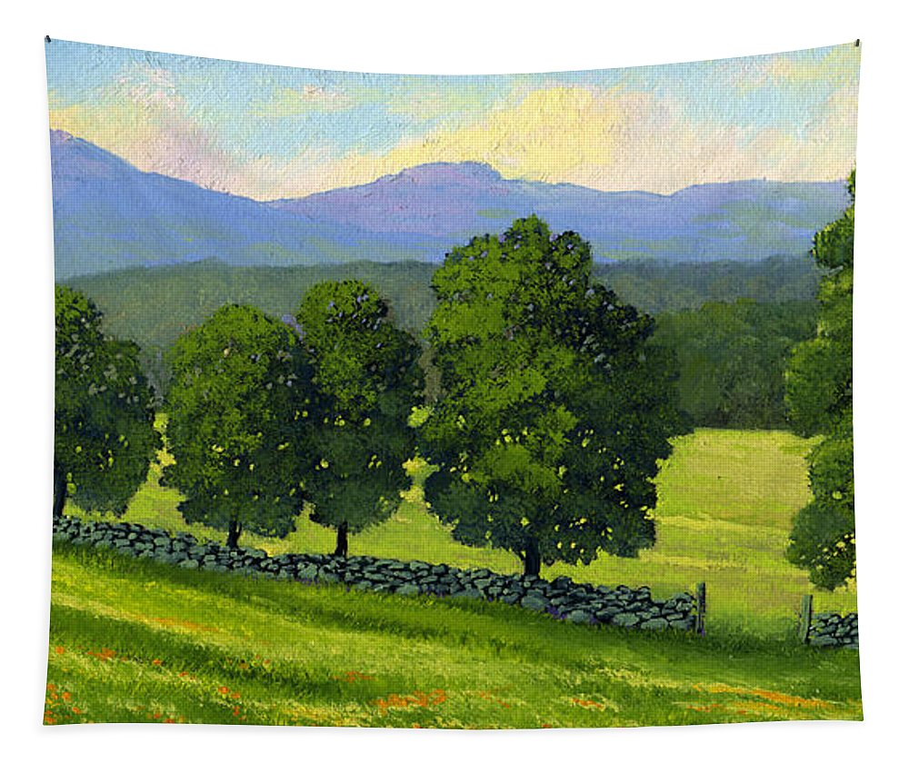 Landscape Tapestry featuring the painting Distant Mountains by Frank Wilson