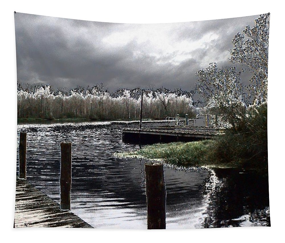Dock Tapestry featuring the photograph Dock At Dusk by Charleen Treasures
