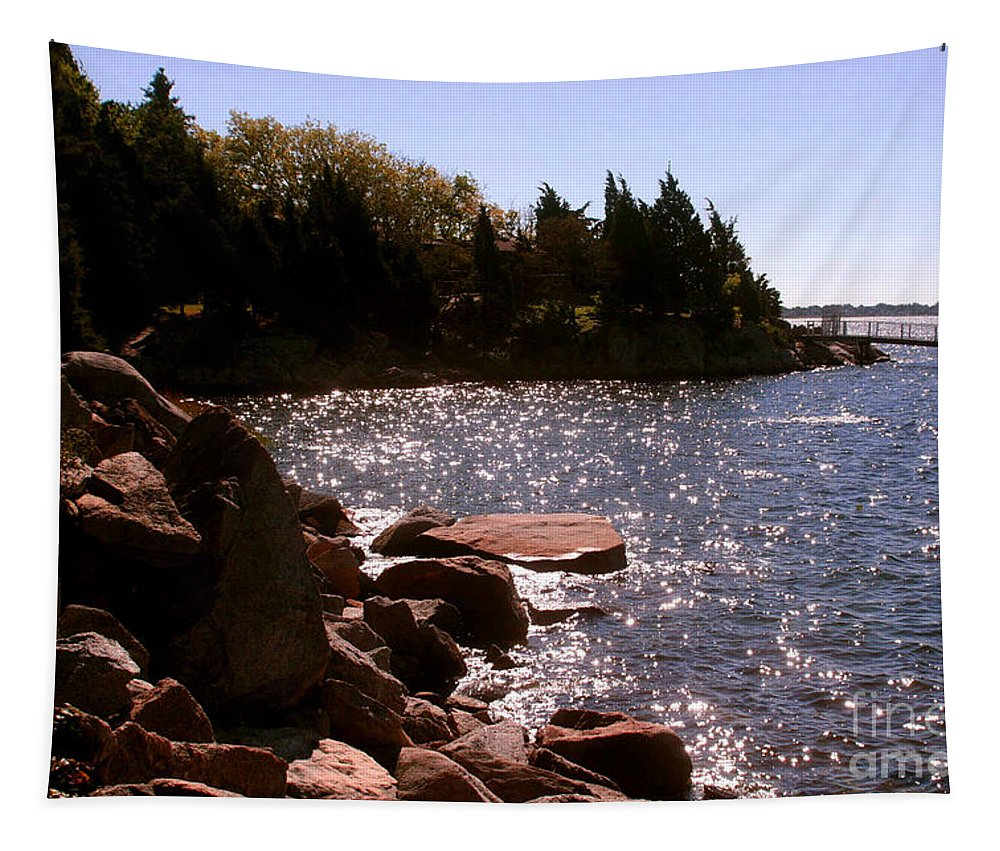 New England Photograph Tapestry featuring the photograph dock at Mount Hope Farm Bristol Rhode Island by Tom Prendergast