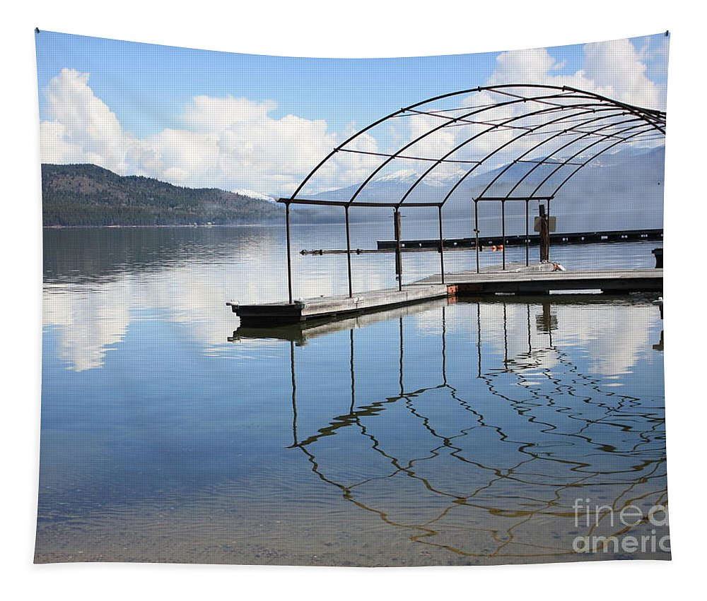 Priest Lake Tapestry featuring the photograph Dock Reflection by Carol Groenen