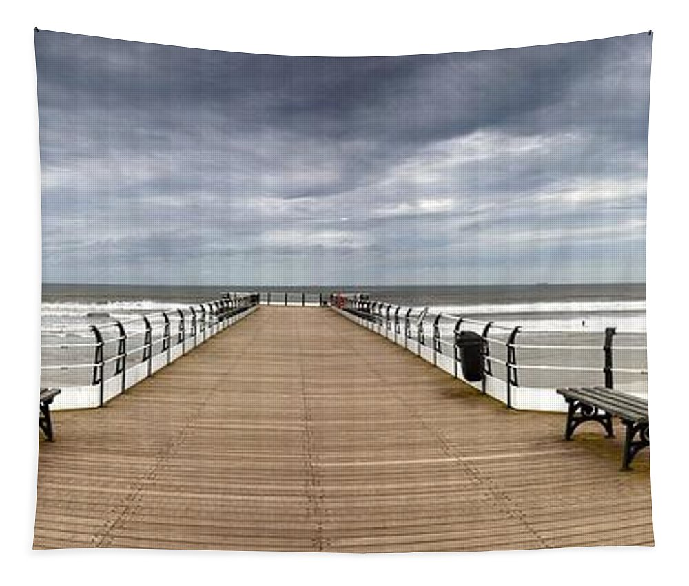 British Tapestry featuring the photograph Dock With Benches, Saltburn, England by John Short