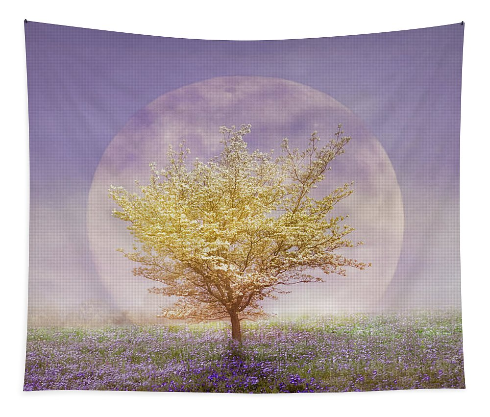 Clouds Tapestry featuring the photograph Dogwood In The Lavender Mist by Debra and Dave Vanderlaan