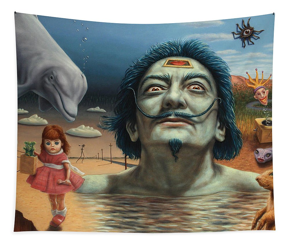 Dali Tapestry featuring the painting Dolly In Dali-land by James W Johnson